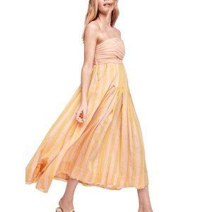 Free People Stripe Me Up Strapless Midi XS
